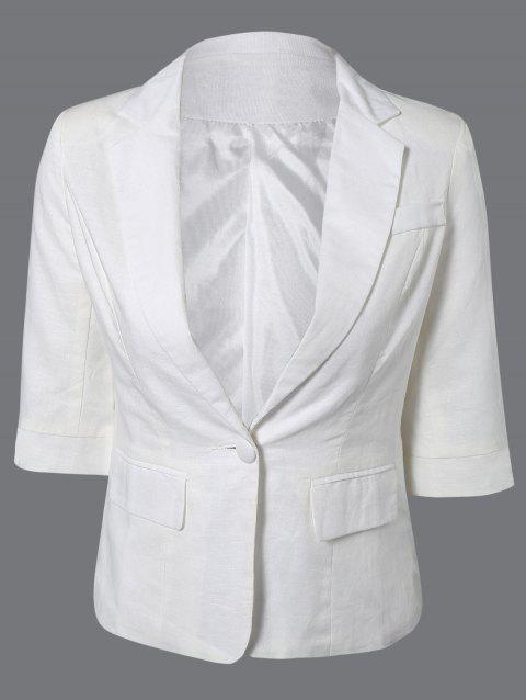 3/4 Sleeve One Button Breathable Blazer - WHITE L