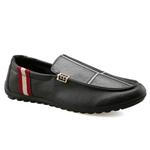 Slip-On Stitching PU Mocassins en cuir - Noir 42