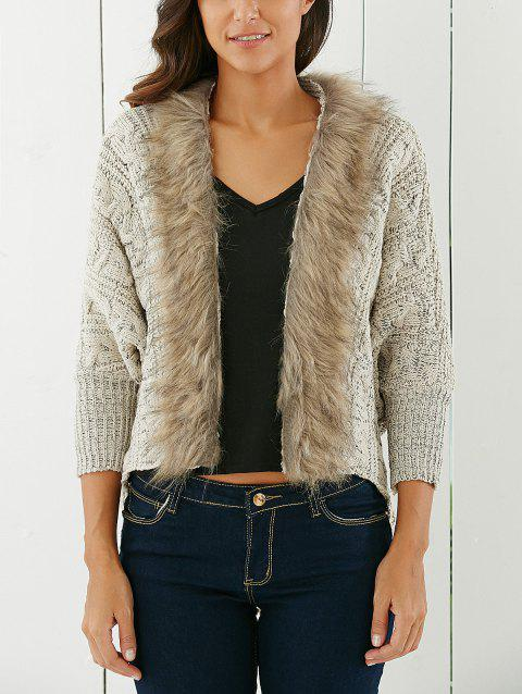 Fashionable Solid Color With Faux Fur Long Sleeve Cardigan For Women - LIGHT KHAKI ONE SIZE