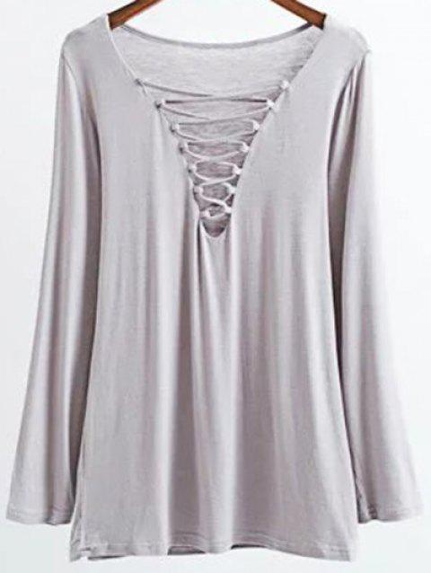 Long Sleeves Lace-Up T-Shirt - GRAY M