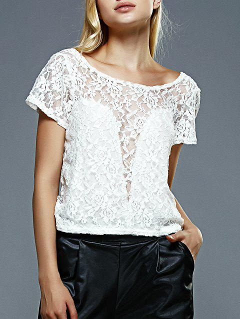 Backless Bowknot Lace Top - WHITE M