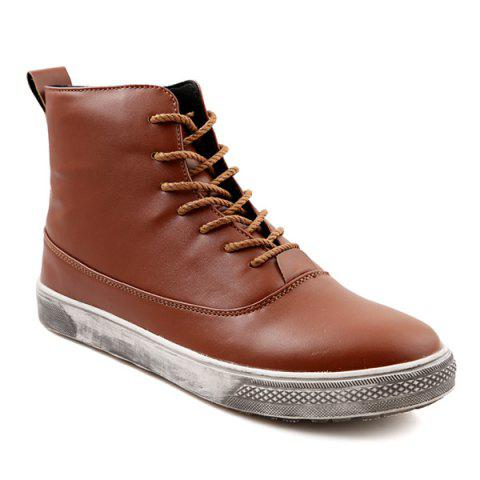 PU Leather Lace-Up Boots - BROWN 44