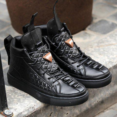 High Top Geometric Embossed Casual Shoes - BLACK 44