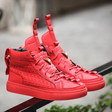 High Top Geometric Embossed Casual Shoes - RED 41