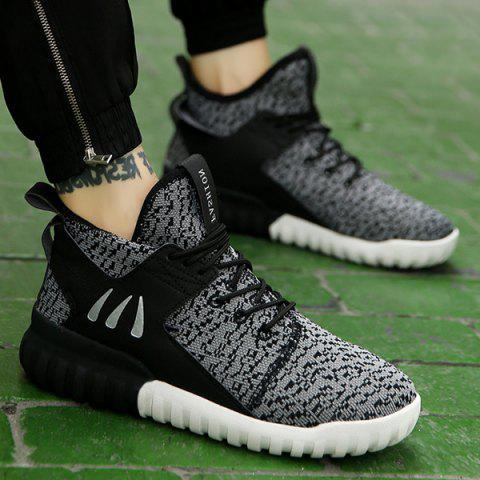 Lace-Up PU Spliced Athletic Shoes - BLACK 41