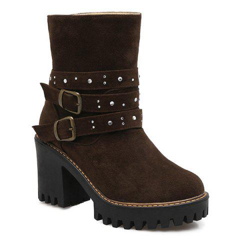 Double Buckle Suede Rhinestones Boots - DEEP BROWN 39