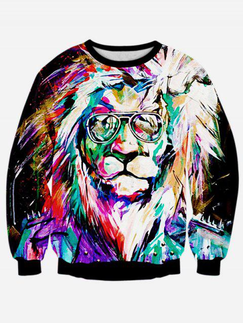 Lion 3D Print manches longues Sweatshirt Colorful - Noir XL