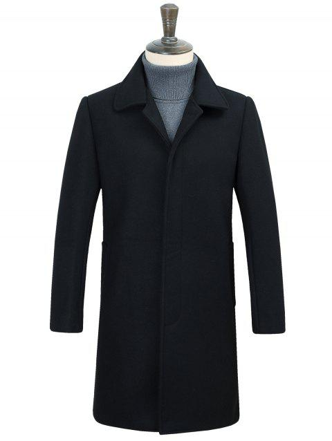 Turndown Collar Longline Covered Button Woolen Coat - BLACK 2XL
