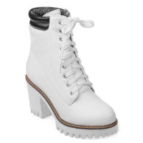 424d5a86616 17% OFF] 2019 Tie Up Platform Chunky Heel Ankle Boots In WHITE ...