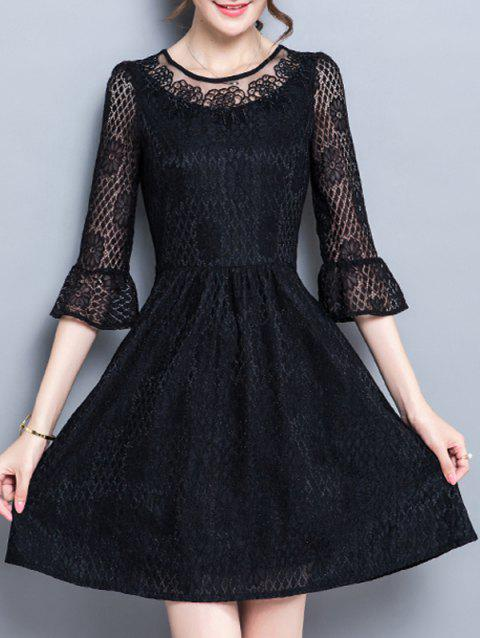 Flare Sleeve Party Mini coupe robe - Noir S