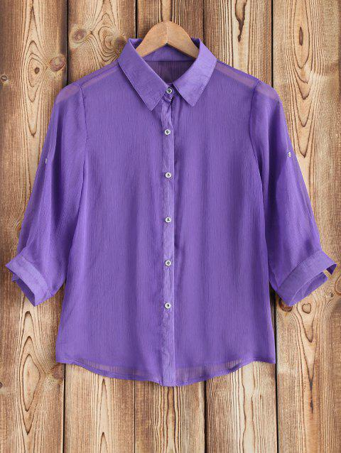 See-Through Chiffon Shirt and White Tank Top Twinset - PURPLE ONE SIZE