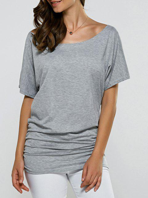 Boat Neck Dolman Sleeve Ruched T-Shirt - GRAY XL