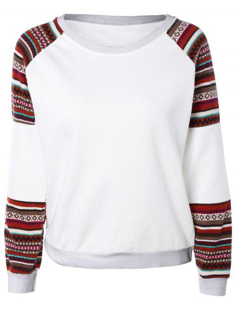 Oversize imprimé tribal Spliced ​​Sweatshirt - Blanc L