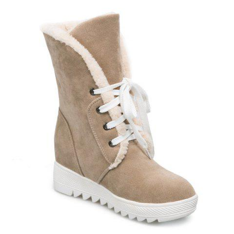 Tie Up Faux Fur Suede Wedge Mid Boots - CAMEL 38
