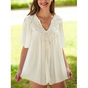 Crochet Cut Out Lace Splicing Blouse - WHITE WHITE