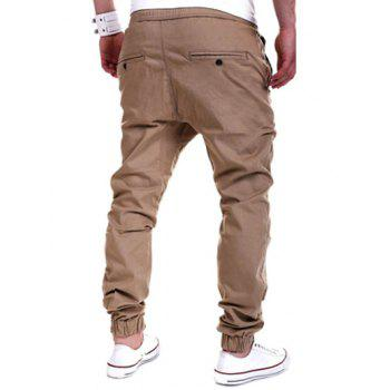 Drawstring Drop Crotch Jogger Pants - KHAKI 2XL
