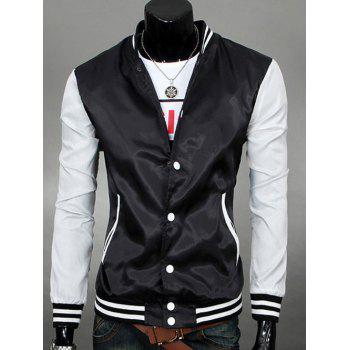 Color Spliced Varsity-Stripe Snap Button Up Jacket