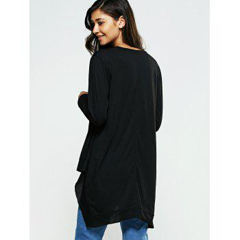 Loose Fitting Long Sleeves High Low T-Shirt - BLACK BLACK
