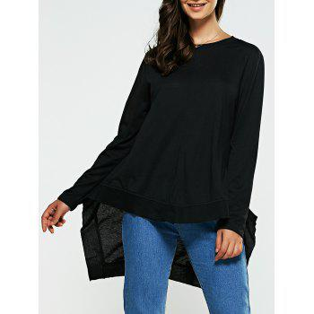 Loose Fitting Long Sleeves High Low T-Shirt