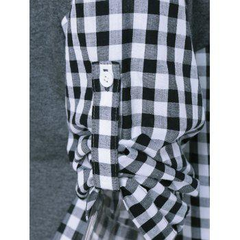 Plaid Pattern Spliced ​​Blouse - Gris S