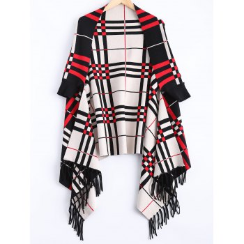 Checkered Asymmetrical Fringed Cardigan