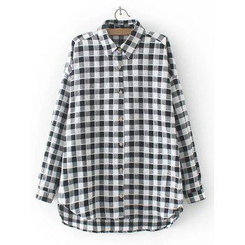 High Low Checkered Pattern Shirt - BLACK XL
