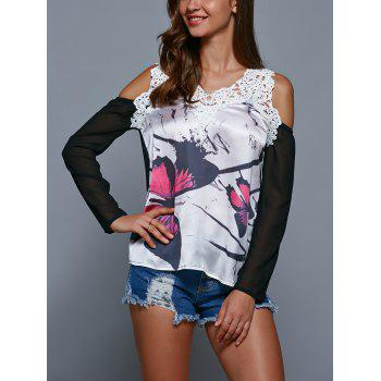 Lace Splicing Hollow Out Print T-Shirt - S S