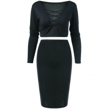 V Neck Crop Top and Pencil Skirt - BLACK BLACK