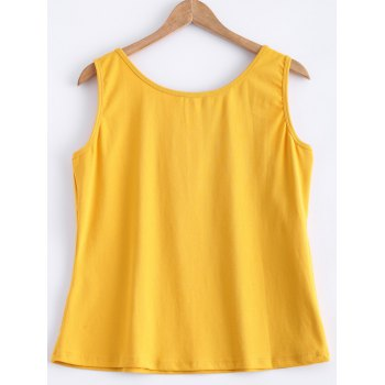 Printed Mountain View Tank Top - YELLOW YELLOW