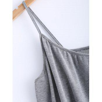 Open Back Stretchy Ribbed Tank Top - GRAY GRAY