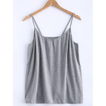 Open Back Stretchy Ribbed Tank Top - GRAY 3XL