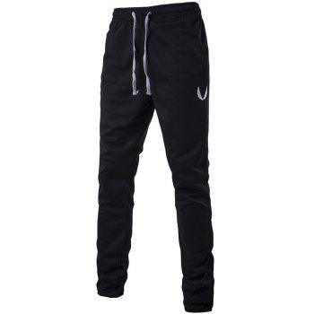 Lace-Up Narrow Feet Embroidered Zipper Design Pants