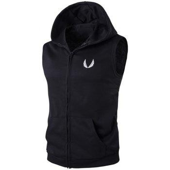 Embroidery Hooded Zip-Up Waistcoat