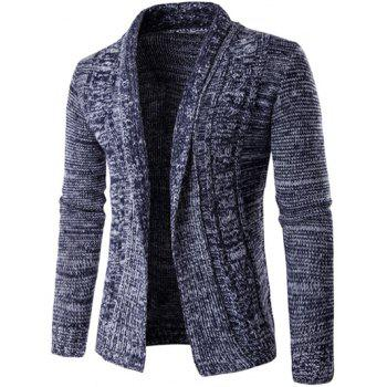 Turn-Down Collar Knit Blends Long Sleeve Cardigan