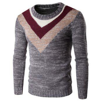 Round Neck Long Sleeve Knit Blends Geometric Pattern Sweater
