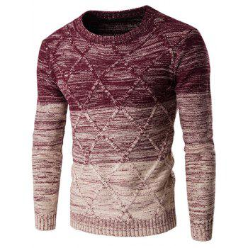 Buy Round Neck Long Sleeve Knit Blends Ombre Kink Design Sweater WINE RED