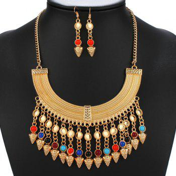 Multicolored Beads Triangle Statement Necklace Set
