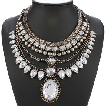 Layered Teardrop Rhinestone Statement Necklace