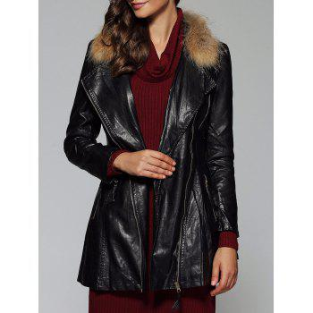 Zipper Design Faux Leather Slimming Coat