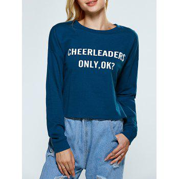 Buy Pullover Letter Graphic Sweatshirt PEACOCK BLUE