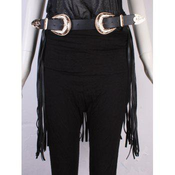Personality Double Buckles Long Tassel Belt