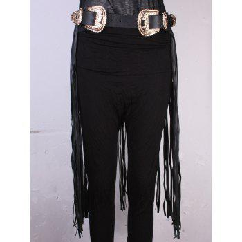Personality Double Buckles Back Long Tassel Belt