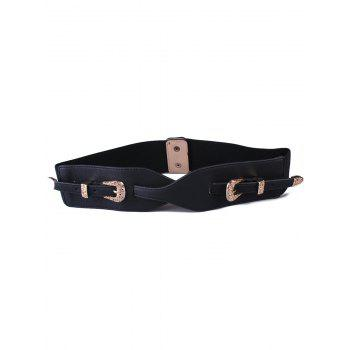 Personality Double Pin Buckles Elastic Wide Belt