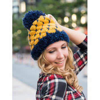 Big Ball Block Design Knitted Beanie