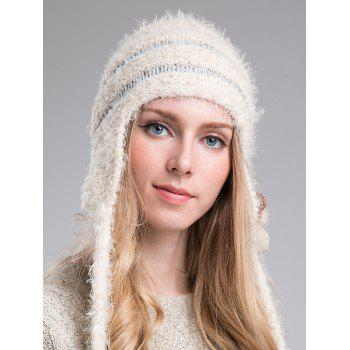 Outdoor Tassel Stripy Knitted Beanie