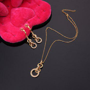 A Suit of Hollow Out Round Necklace and Earrings - GOLDEN