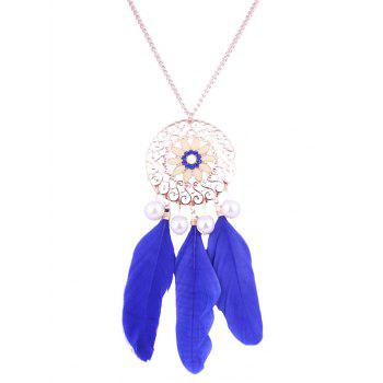 Faux Pearl Floral Round Feather Necklace