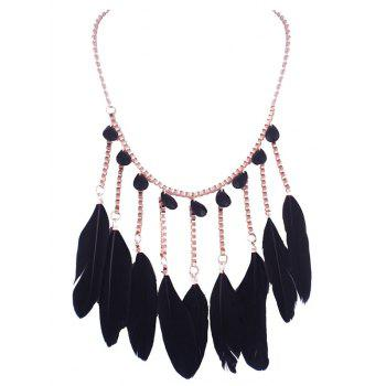 Faux Crystal Feather Water Drop Necklace