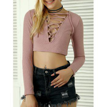 Long Sleeves Lace Up Crop Top