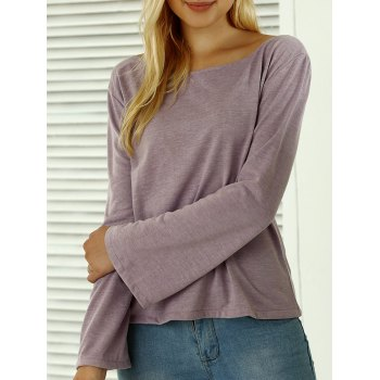 Boat Neck Flare Sleeves T-Shirt